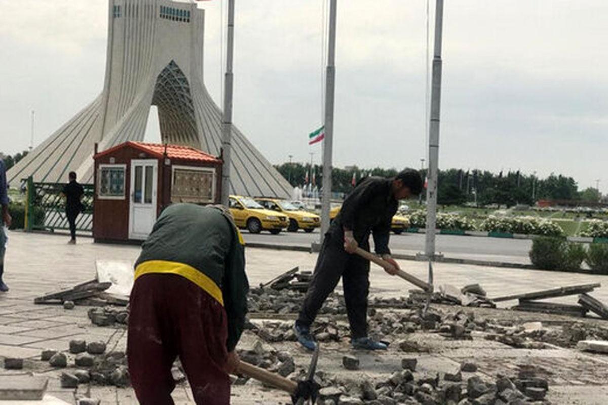تایید تخریب سنگفرش پارکینگ اختصاصی برج آزادی
